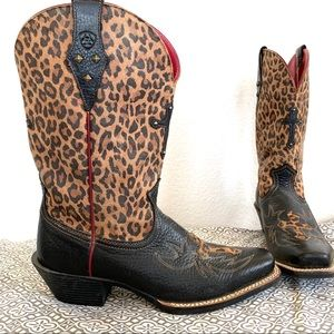 Ariat Shoes - Ariat Leather Cheetah Print Cross Cowboy Boots